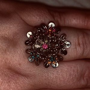 Jewelry - 2/$15 Silver multicolored floral ring